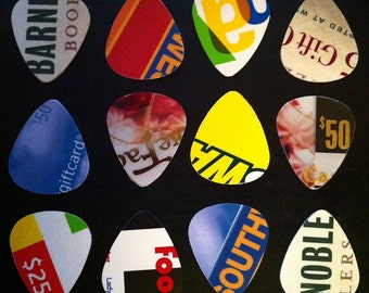 Guitar Picks - RECYCLED MATERIALS - Pack of 12
