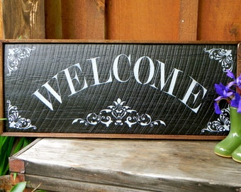 Welcome Sign, Handmade Wood Signs, Home and Garden Decor, Rustic, Cottage Chic, Shabby, Custom, Housewarming Gift