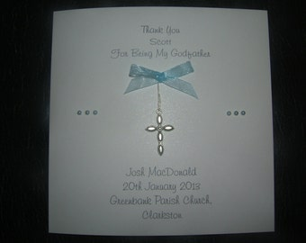 Lovely handmade personalised personalized Thank You Christening Baptism Godparents Godmother Godfather card
