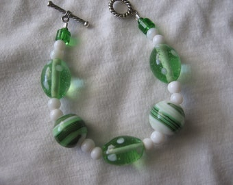Green glass beaded bracelet is another one of a kind. Perfect for Easter