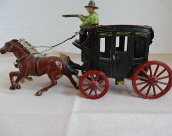 """Old Johillco Toy Cast Iron Stagecoach with Two Horses amd Two Riders - England """"REDUCED"""""""