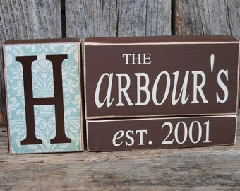 Personalized family blocks, last name blocks, established block set, anniversary gift, bride to be gift, gift for wedding, wedding present