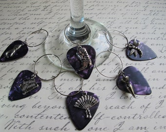 SET of Silver Wine Charms, Guitar Pick Wine Charms, Wine Glass Charms, Steampunk Wine Charms, Steampunk Charms