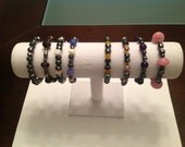 Hematite and Stone/Agate Beads. Fits Most Wrists.