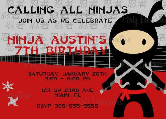 Printable Ninja Birthday Party Invitation Plus Free Blank