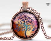 Tree of Life Necklace, Tree Art Pendant, Colorful Tree Necklace, Your Choice of Finish (228)