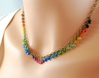 Rainbow Necklace Swarovski Crystal Antiqued Brass Bright Colorful Fun Wire Wrapped Jewelry