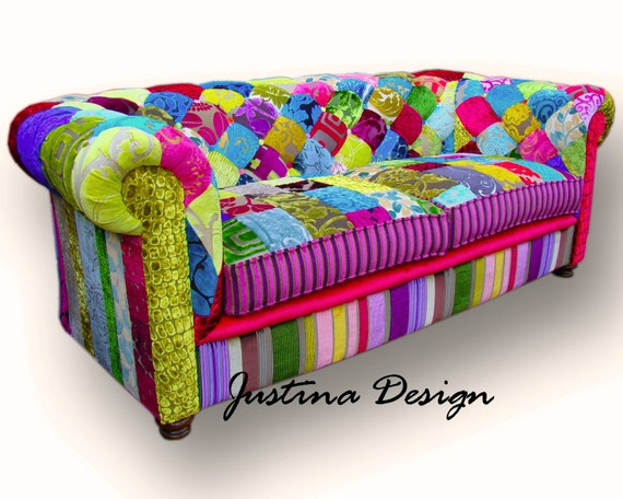 patchwork chesterfield sofa in designers guild velvets. Black Bedroom Furniture Sets. Home Design Ideas