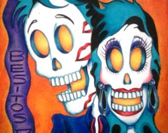 Day of the Dead/ Dia de Los Muertos Print - Besitos V by Lisa Cabrera