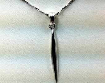Sterling silver long slender pendant.