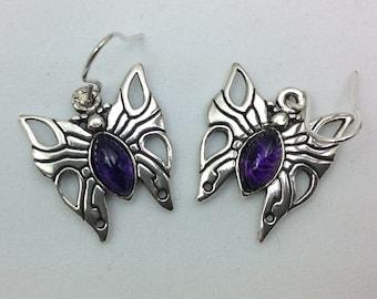 Sterling silver butterfly with amethyst dangle earrings