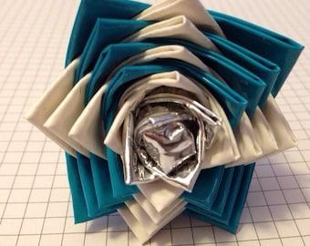 Teal & White Duck Tape Flower Pen