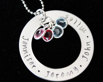 Hand stamped personalized name pendant  necklace with Swarovski Birthstones- Mothers necklace - family necklace