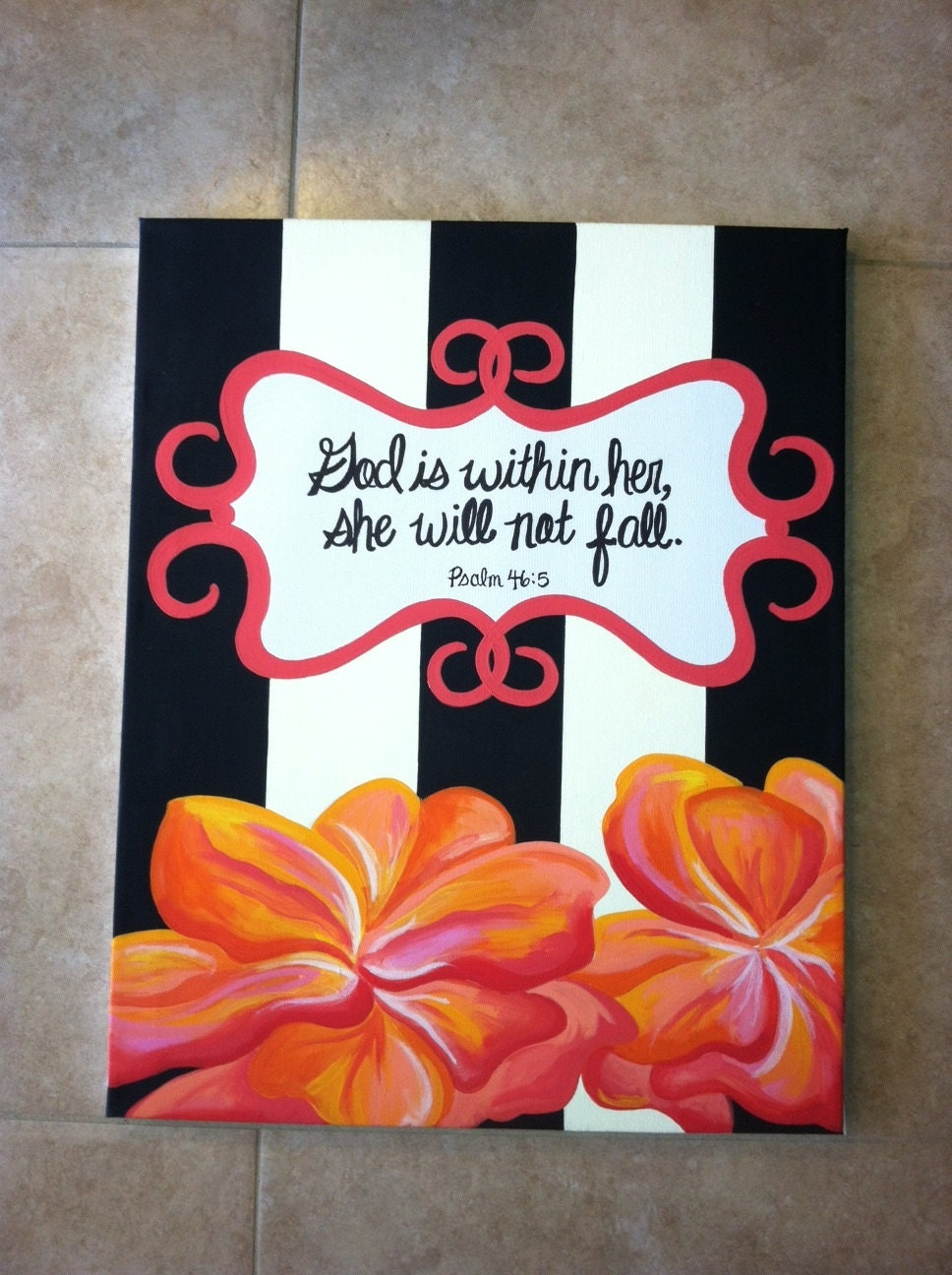bible verse psalm 465 painting hand painted in acrylics