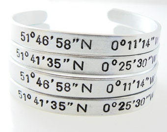 Coordinates Bracelet, Latitude Longitude, set of 4,engrave cuff, custom coordinate, personalize jewelry, Christmas gift, Black Friday
