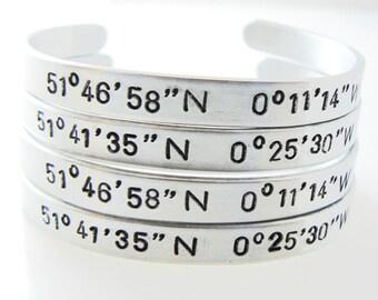 Coordinates Bracelet, Latitude Longitude, SET OF 4, GPS Cuffs, coordinate bracelet, personalized location bracelet
