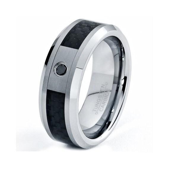 mens tungsten carbide wedding band ring 8mm black diamond carbon fiber