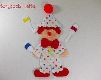 SHOP CLOSING SALE - Felt Doll Outfit Circus Clown Felt Doll Dress Up Set Without Doll Non Paper Doll Paper Doll