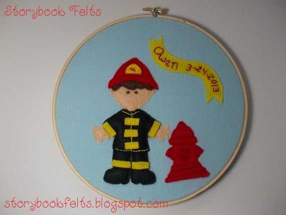 Storybook Felts Personalized Embroidered Applique Hoop Fireman With Fire Hydrant Name And Birthday