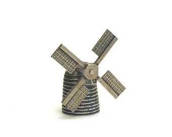 Thimble Windmill Pewter Moving Collectible Thimble