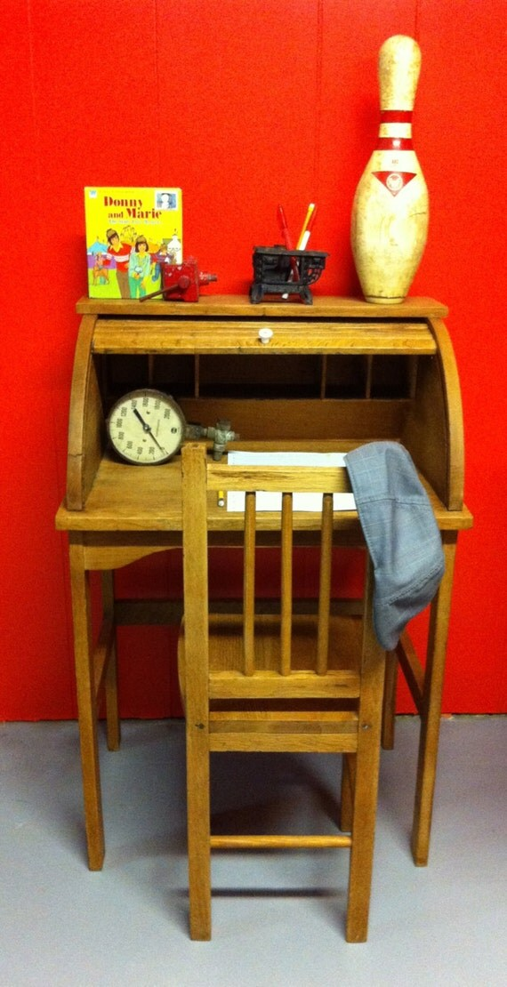 Antique Child Roll Top Desk And Chair By Hueisit On Etsy