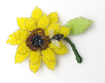 Hand Beaded Sunflower Pin (medium) with Swarovski Crystal & Japanese Beads
