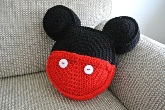 Crochet Pillow Mickey Mouse Inspired Icon By Morganbryndesigns