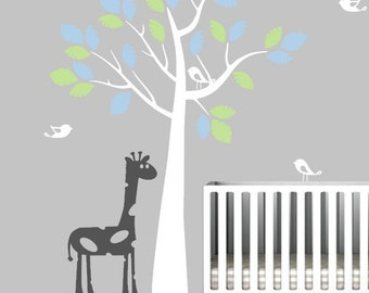 Nursery Tree Decal with Birds and Giraffe, Vinyl Wall Sticker
