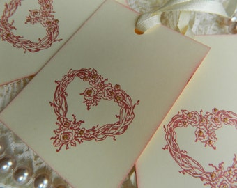 Vintage Inspired Hand Stamped Elegant Heart Wreath Gift / Wedding Wish Tree Tags Set Of 12
