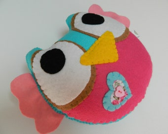 Sweet Pink and Turquoise Little Owl Felt Home Decoration / Toy