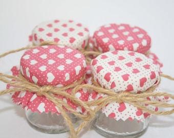 Mini Jar Wedding Favours Bridal Shower or Baby Girl Shower heart fabric