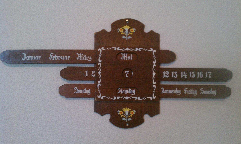 Vintage tole painted german wooden perpetual calendar wall - Wooden perpetual wall calendar ...