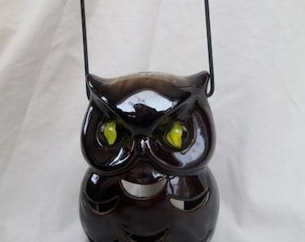Vintage Ceramic Owl Lantern, Owl Candle Holder with Marble Eyes