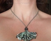 Grey Neutral Necklace: Labradorite stone bead tyvek fused plastic silver white fan shaped recycled upcycled repurposed reclaimed refashioned