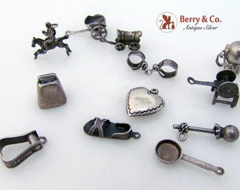12 Vintage Sterling Silver Western Charms