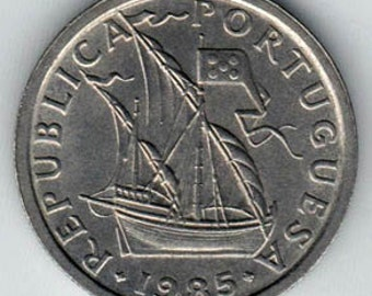 Lot of 10 coins - Vintage Portugal 2.5 Escudos -sailing ship - coat of arms - Portuguese - KM590