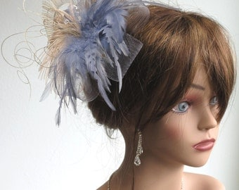 Wedding Feather Hair Clip Fascinator  Wedding Accessory Ostrish Feathers