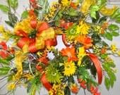 Beautiful Vivid Colors  (Orange, Yellow, Lime Green)  Spring Time Wreath