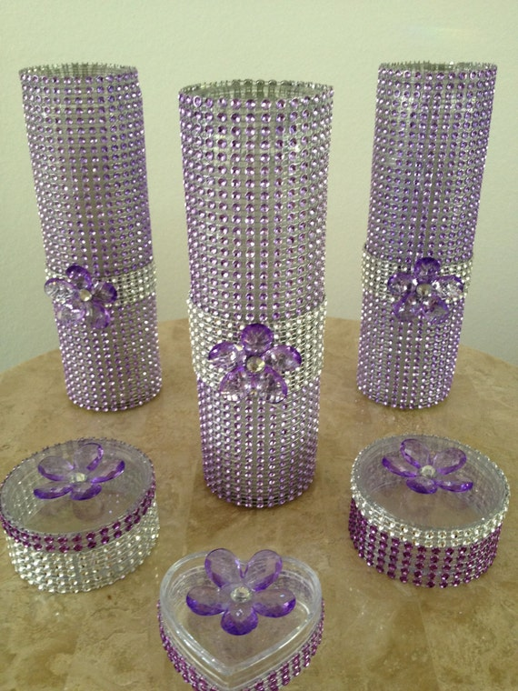 Items Similar To Set Of 3 Decorated Bling Glass Cyclinder
