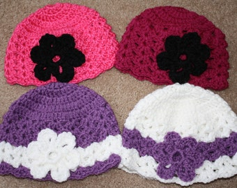 Crochet Beanie with flower.  Crochet hat with flower.  Handmade to order.