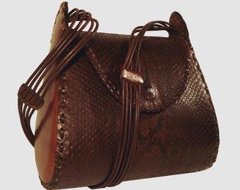 LEATHER HANDMADE BAG / Leather Bag / Bag / Leather Handbag / Handbag / Python Bag / Shoulder Bag / Elbow Bag / Brown Leather Bag.
