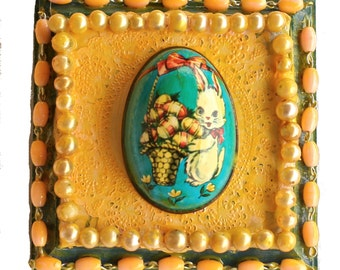 Small Upcycled Mixed Media Assemblage for Easter Vintage Found Objects, Easter Gift,