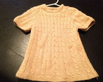 Custom Knit Dress with Cable Design and Pockets