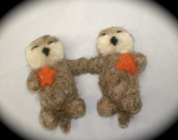 Sleeping Sea Otters Holding Hands (Magnetized)