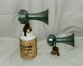 Vintage Falcon Air Horns with one Falcon Packaged Powder Can Boat Marine Horn Whistle
