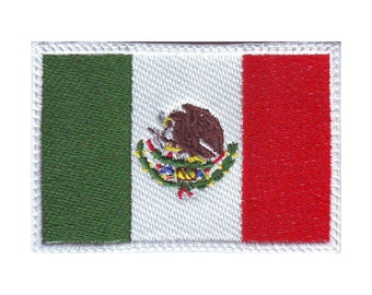 Mexico White Border Flag Embroidered Patch
