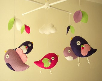 "Baby crib mobile, Bird mobile, felt mobile, nursery mobile, baby mobile, girl mobile ""Bird - pink, purple"""