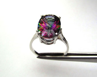 CLEARANCE  Breathtaking Rainbow Quartz Concave Cut Oval in Sterling Silver Ring