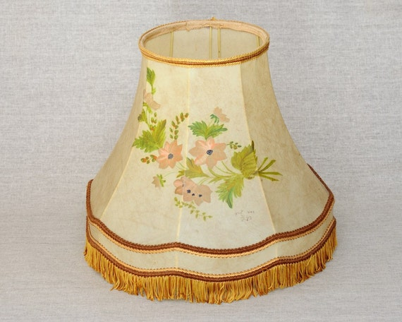 Vintage Abat Jour Lamp Shade Pig Bladder With Hand Painted