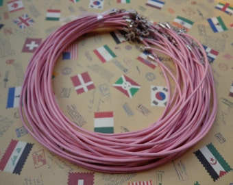 SALE--100 pcs 16-18 inch adjustable 2.0 mm thickness pink  genuine(real) leather necklace cords with lobster clasps